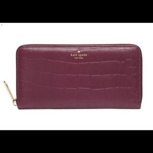 Kate Spade Grey Street Exotic Wallet Mulled Wine