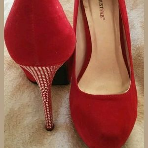 Just Fab Red Faux Suede stilettos Silver Heels
