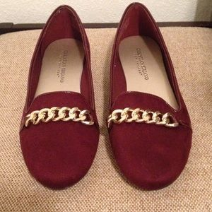 Christian Siriano Shoes - Brand new!! Red flats featuring gold chain