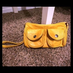yellow wristlet purse