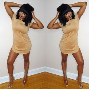 Dresses - Nude Microsuede Dress