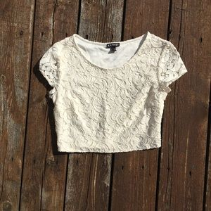 NWOT Express Crop Top White Lace Size XS