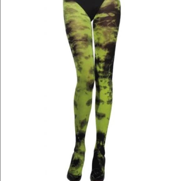 Grunged Florals on Green Fleece Leggings Full Length