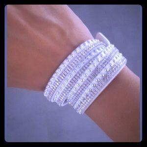 White Rhinestone Faux Leather Wrap Around Bracelet