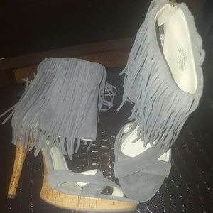 "Gray Fringe Suede  5 ""Wood Heels"