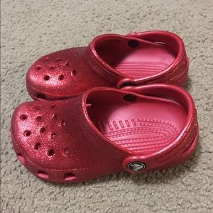 CROCS Shoes | Red Glitter Crocs | Poshmark