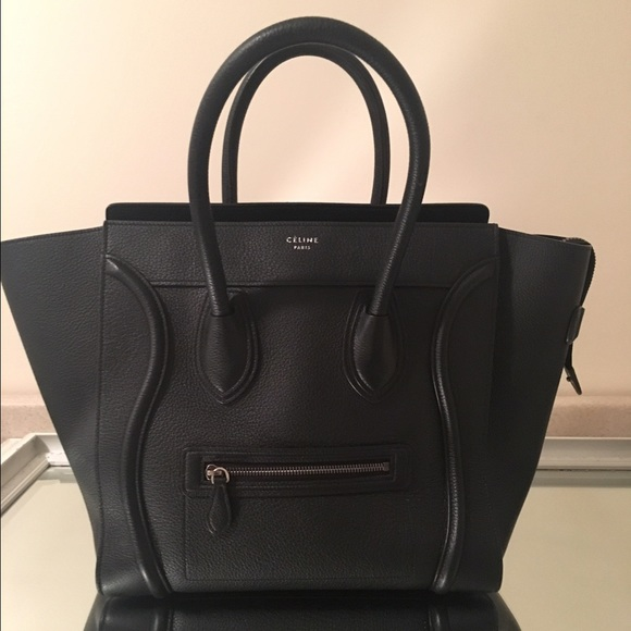 Celine micro luggage in black pebbled leather. dd17dddd24287
