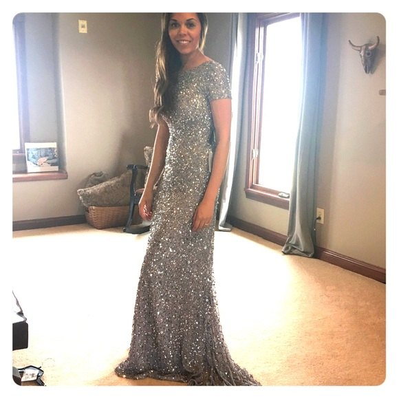 Adrianna Papell Dresses Short Sleeve Mesh Sequin Gown Poshmark