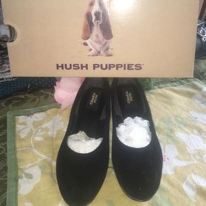 Hush puppies black suede shoes