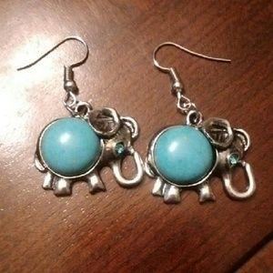 Tibetan Silver Elephant Earrings W/Turquoise Stone
