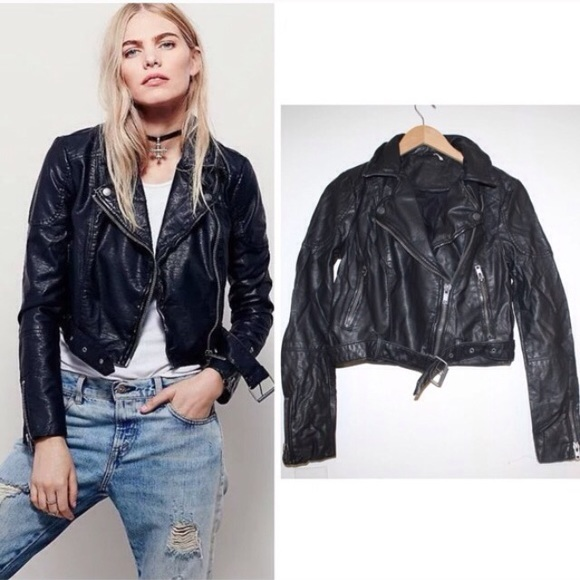 6f3d9b70a FREE PEOPLE CROPPED VEGAN LEATHER MOTO JACKET NEW