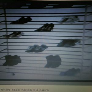 Rolling shoe rack holds 50 pairs
