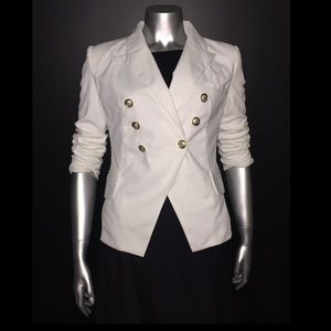 Off white blazer with gold buttons Zara style