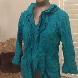 Linen cotton teal ruffled crewel work jacket. PL