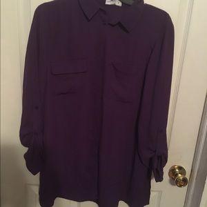 Purple button down long sleeve blouse