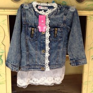 Other - Girls Jean jacket with lace trim NWT, NEW PRICE