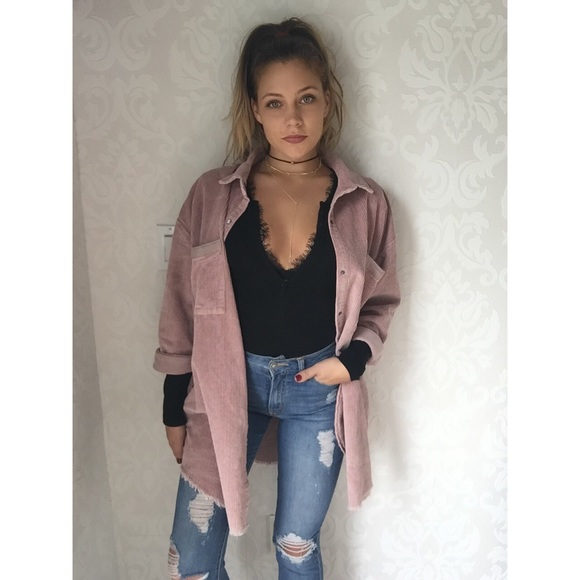 57% off Jackets & Blazers - SOLD ||| Dusty pink corduroy jacket ...