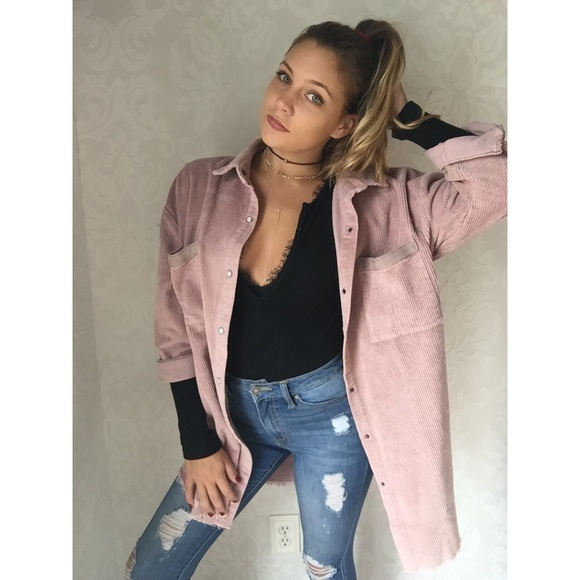 57% off Jackets &amp Blazers - SOLD ||| Dusty pink corduroy jacket