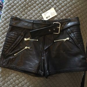 Marissa Webb Pants - Black leather shorts with removable belt