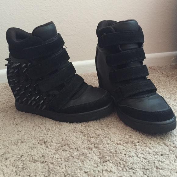 Aldo Black Spiked Wedge Sneakers