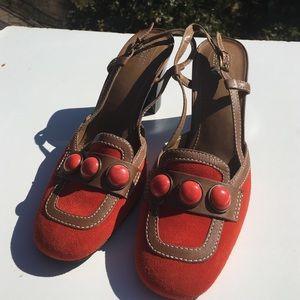 Franco Sarto Shoes - Franco Sarto Suede Orange Brown Heels 9