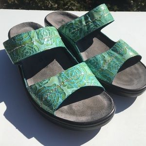 Mephisto Shoes - Mephisto Mobils Slides Sandals Green Floral 40