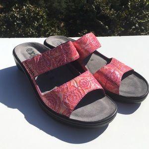 Mephisto Shoes - Mephisto Mobils Pink Floral Slides Sandals 40
