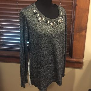 Gibson Latimer Tops - Shimmery High Low Blouse