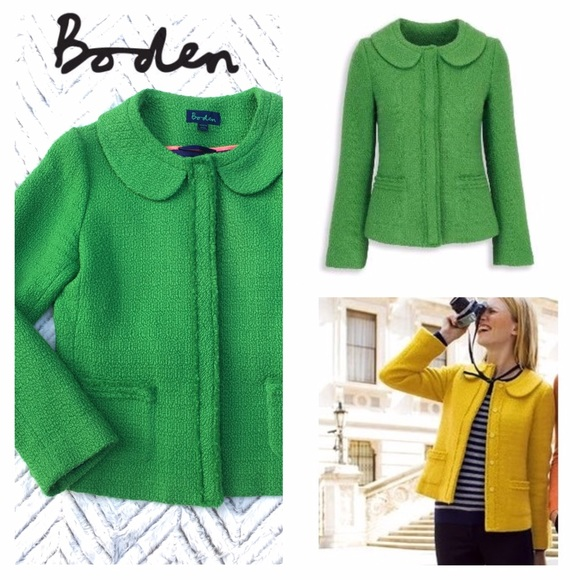 Boden Jackets Coats Kelly Green Wool Boucl Parisienne Jacket