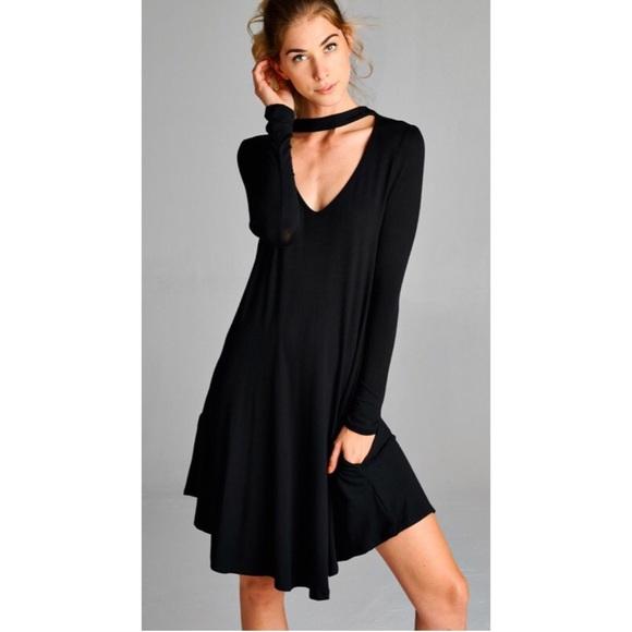 55defa950c24 Boho Black Choker Tunic Dress w pockets S M L