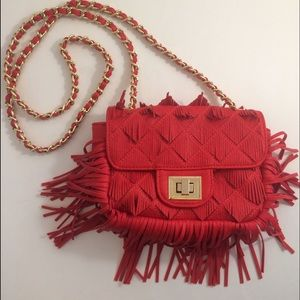 Handbags - Red Fringe Crossbody Purse