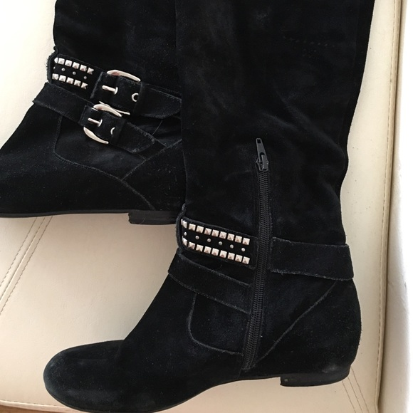 50 bcbgeneration shoes bcbg suede black thigh high