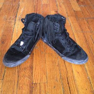 Supra fringe black pony hi top sneakers