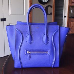 Celine Handbags - Celine Mini Luggage Indigo Drummed Leather