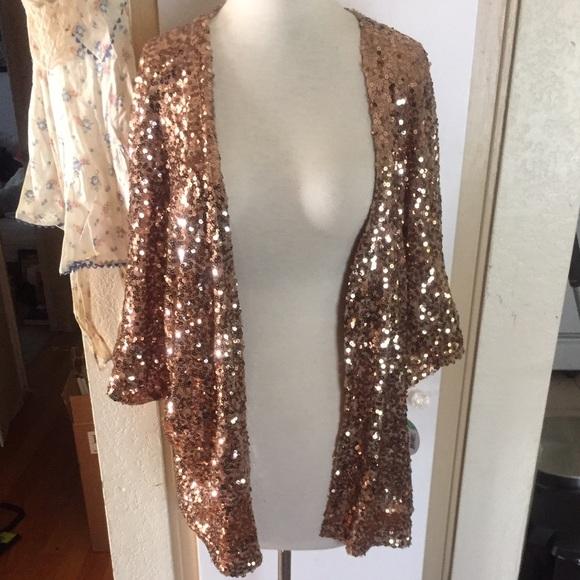 67% off BONGO Jackets & Blazers - rose gold sequined kimono jacket ...