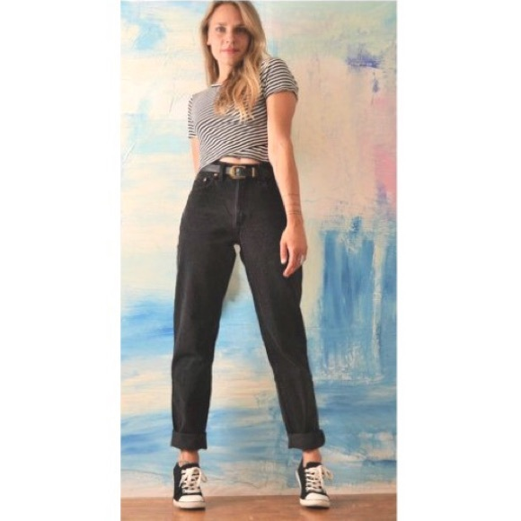 detailed images authorized site custom Vintage High Waist Black Jeans 16 Lee Classic Fit