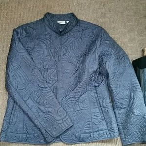 Chico's Jackets & Blazers - Embossed Chicos Navy Blue Fall Light Coat Jacket