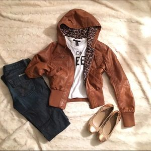 FOREVER 21  FAUX LEATHER BOMBER W/ HOOD