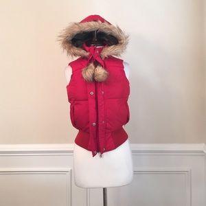 FUBU Red Vest with Faux Fur Hoodie