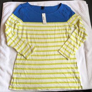 NWT J. CREW striped cotton 3/4 top size s