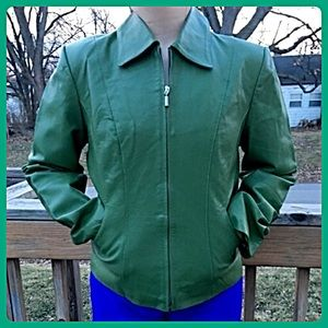 Chadwicks Green Leather Jacket! LIKE NEW!