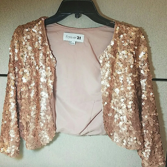 ac87f9fd Forever 21 Jackets & Coats | Rose Gold Sequin Cropped Jacket | Poshmark
