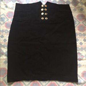 Black pencil skirt high waist w/ gold buttons