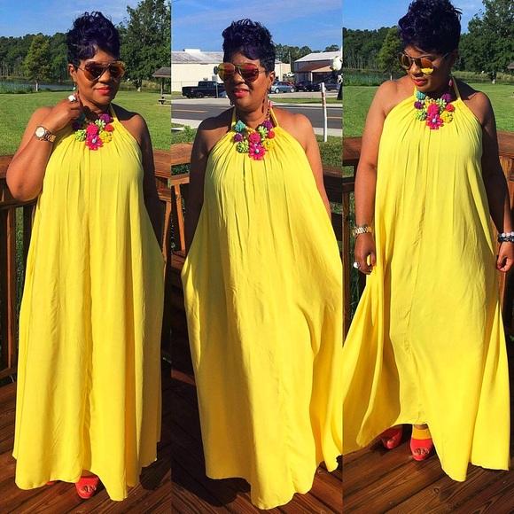 Dresses | Sale Yellow Long Maxi Dress Plus Size 1x 2x 3x | Poshmark