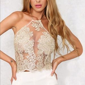 Lace Mesh Champagne Illusion Crop Halter Top