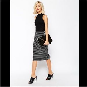 AUTH RIVER ISLAND ASOS STRIPE MIDI PENCIL SKIRT 6
