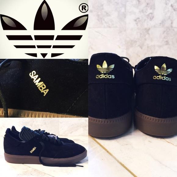 Adidas Samba rare black   gold suede 8.5 NEW a552ac40f