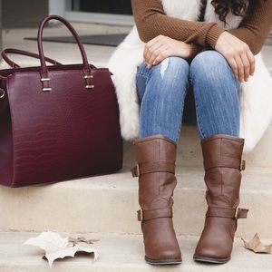 Burgundy Croc Embossed Faux Leather Bag