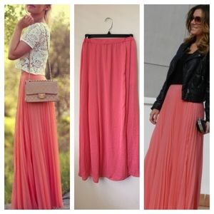 Zara coral maxi skirt