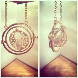 Gyroscope Hourglass Unique Boho Chic Gold Necklace